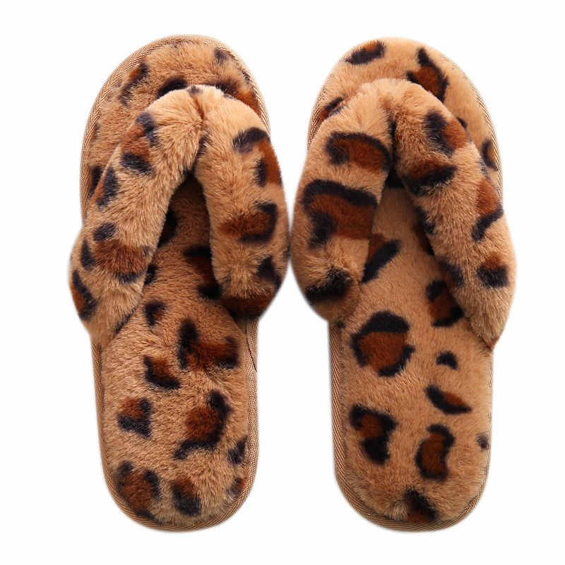 wholesale fluffy Leopard print fur open-toe shoe house Indoor non-slip warm Female cotton slippers Winter Women's Flip-flops