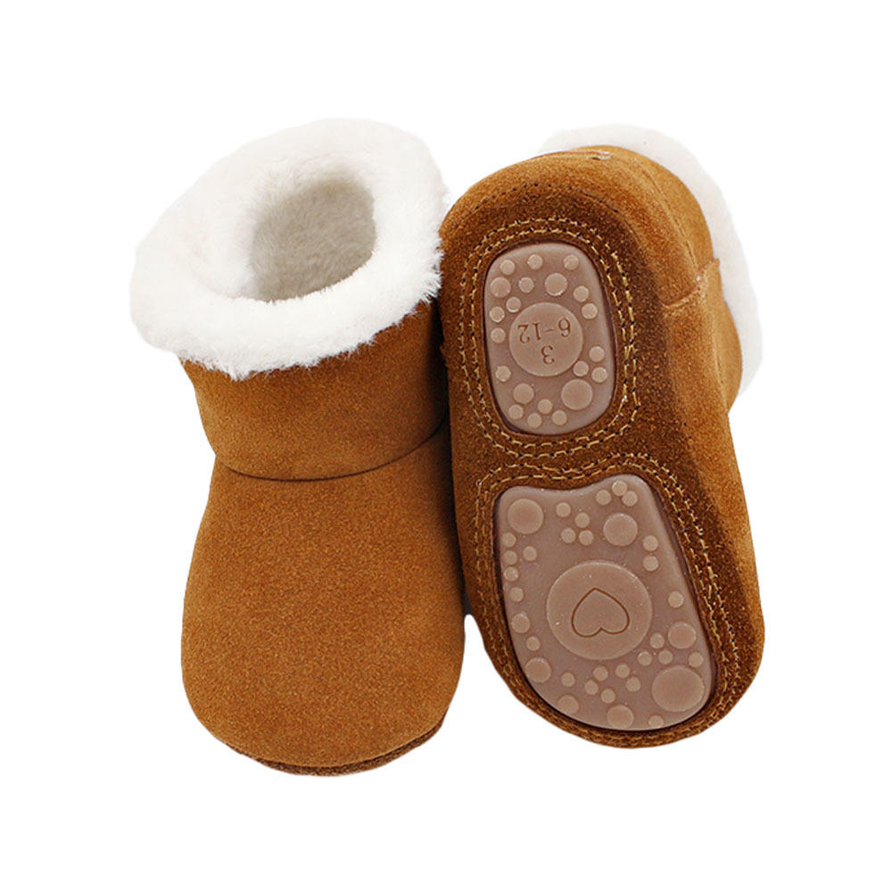 Lovely winter warm baby cow leather shoes toddler baby boys girls boots booties soft newborn bebe first