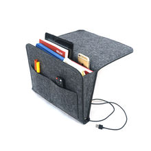 Multipurpose  Organizer Sturdy  felt bed pocket Five Pockets and Side Charging Cable Hole