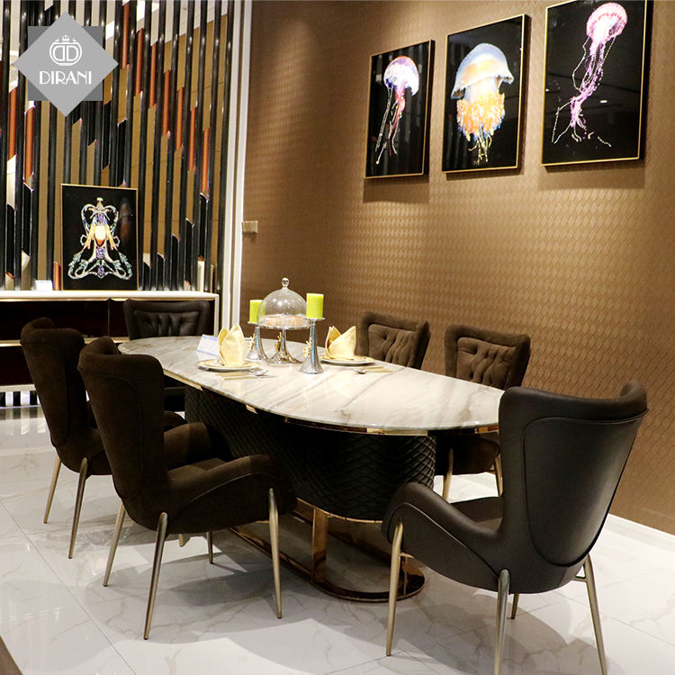 Luxury Italian oval stainless steel leg marble top modern dining table and chairs set for weeding