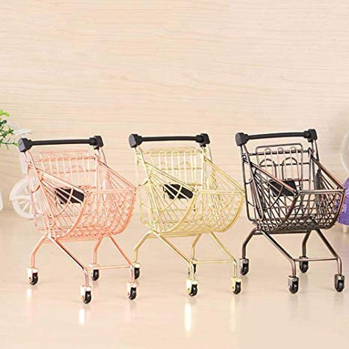 Kid mini metal shopping trolley cart wire mesh small supermarket trolley for gift packaging promoting sales