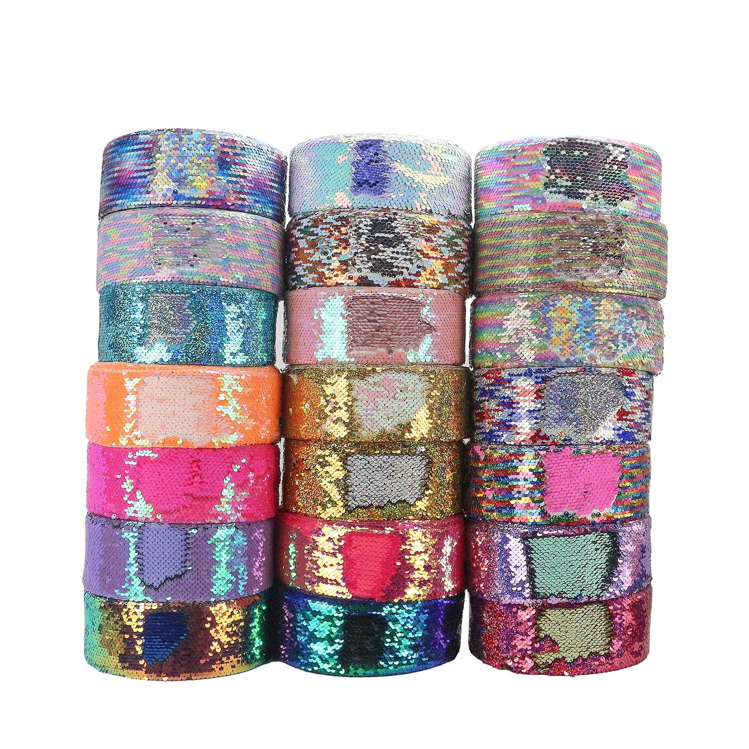 "Huihuang factory price stock sale 3"" hair bow ribbons reversible sequin fabric ribbon"