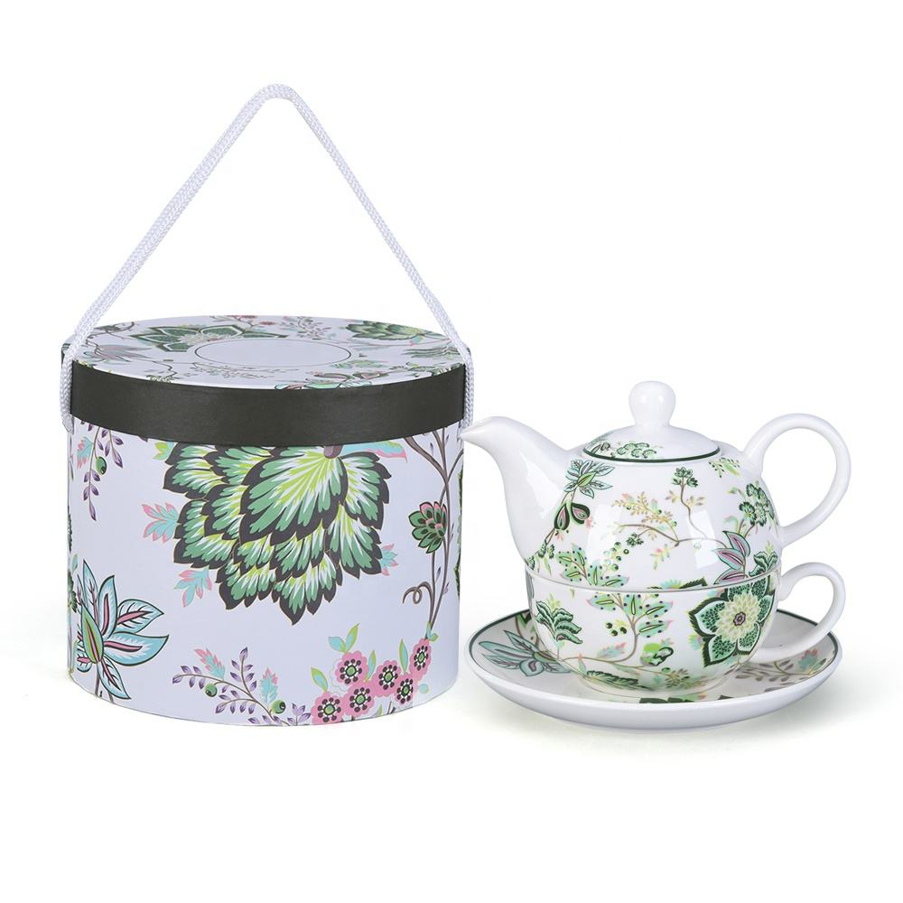 ceramic cute green teapot and cup set with bucket Gift box