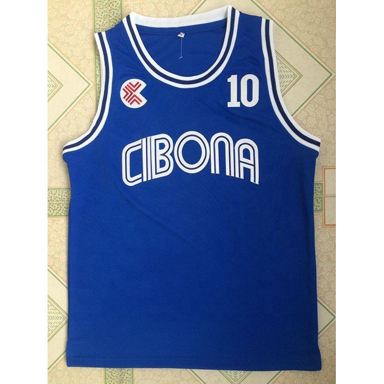 Croate Ligue Cibona #<span class=keywords><strong>10</strong></span> Petrovic bleu hommes basket-ball pratique porter brodé maillot maillot de basket-ball vêtements de sport