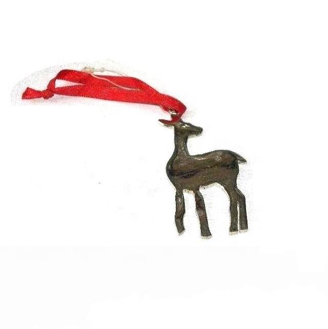 Christbaum schmuck Hirsch aus Messing mit Nickel-Finish