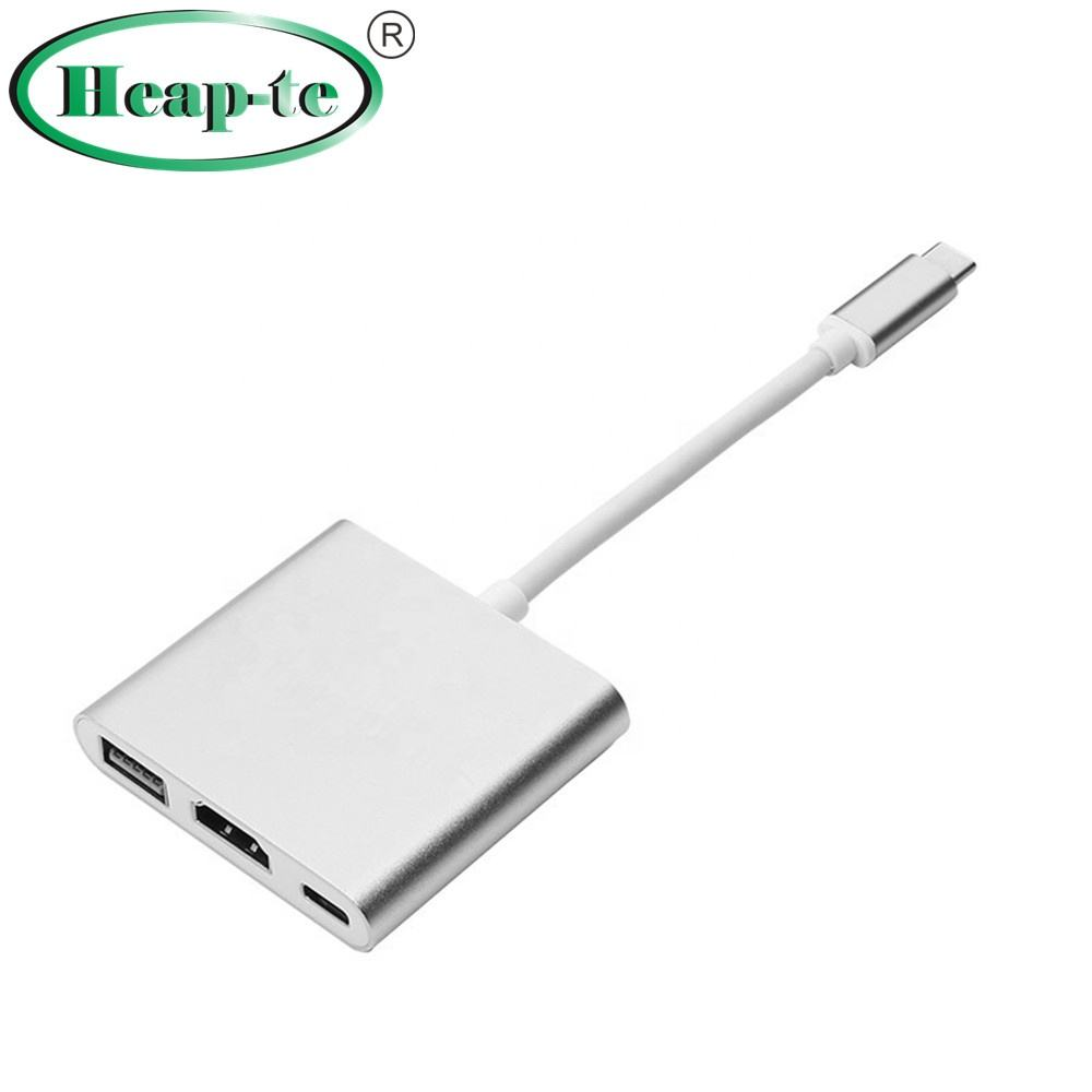 Type C USB 3.1 Hub USB-C to USB 3.0/ HDMI/ Type C Female Charger Adapter for New Apple Macbook 12in Google Chromebook Pixe