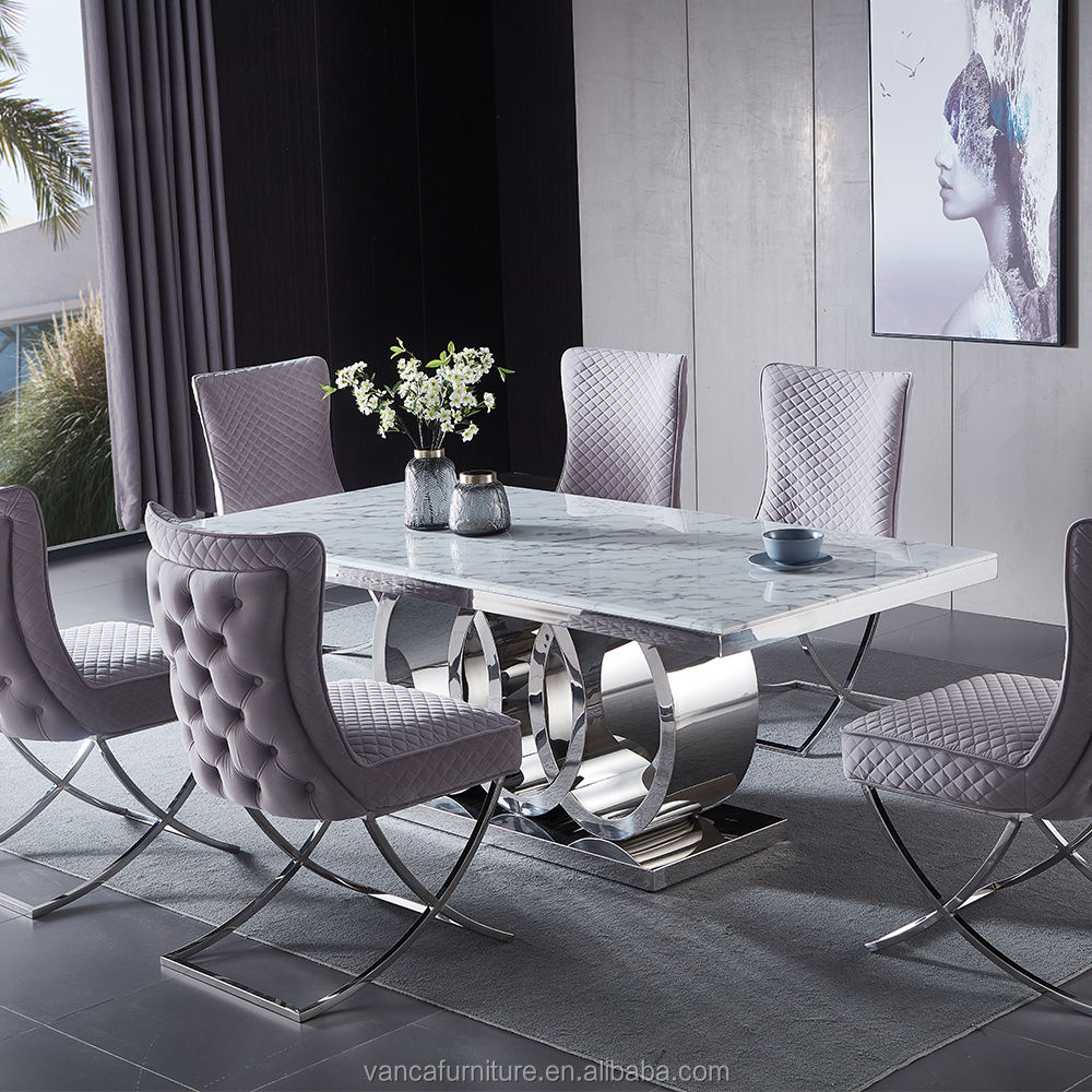 Wholesale Modern stainless steel metal 3 circles base Dining room furniture Marble Dining table set with 6 chairs