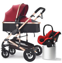 3 in 1 can sit can lie folding High landscape two-sides child four seasons Russia with car seat baby stroller