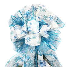 Large Christmas Tree Topper Bow Wreath Decoration Big Gift Mesh Organza Wire Ribbon Printed Blue Snow Bow