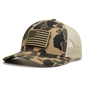 Custom USA Flag Camouflage Tactical Baseball Cap Army Embroidery Cotton Hat Male Summer Sports America Mesh Trucker Cap