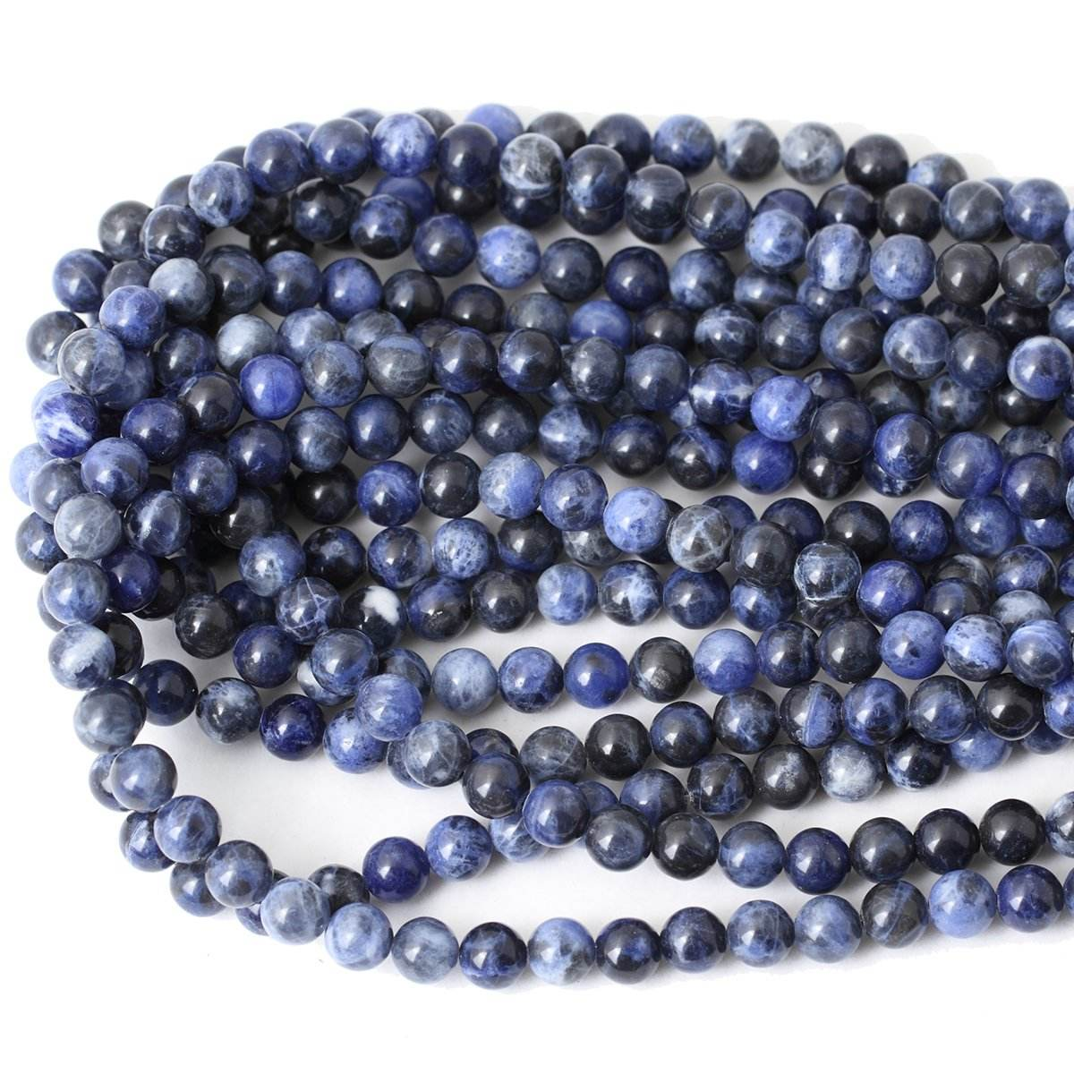 Natural 8mm Sodalite Gemstone Loose Beads Round Smooth Stone Energy Healing Stone Power Beads for Jewelry Making