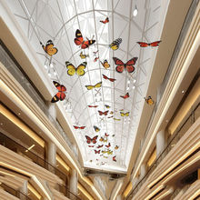 60cm 80cm 100cm 120cm Shopping mall giant artificial hanging large butterfly decoration