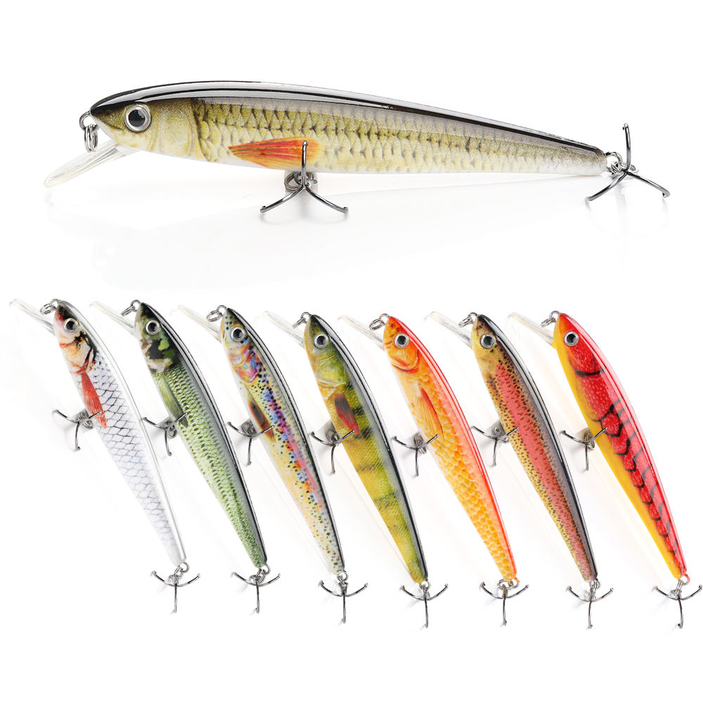 8 colors available 100mm 11g lifelike bionic abs plastic hard body lures fishing minnow with 2 hooks