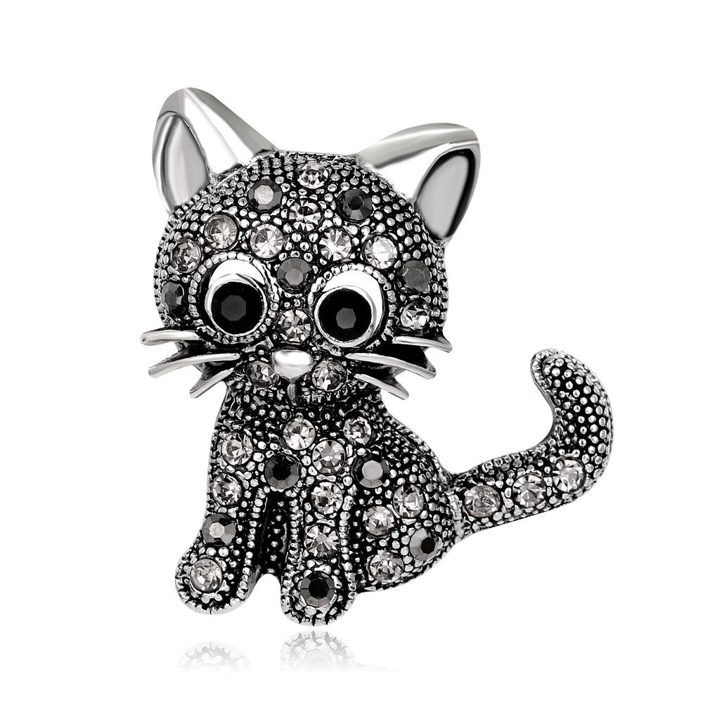 New Popular delicacy Metal Antique Silver /Antique Gold white rhinestone cat pins brooch