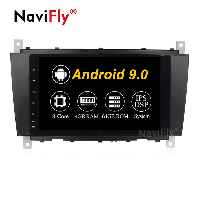 Navifly PX5 4 + 64G Android 9.0 IPS DSP Car DVD Player Cho Mercedes/Benz W203 W209 W219 a-Class A160 C-Class C180 C200 CLK200