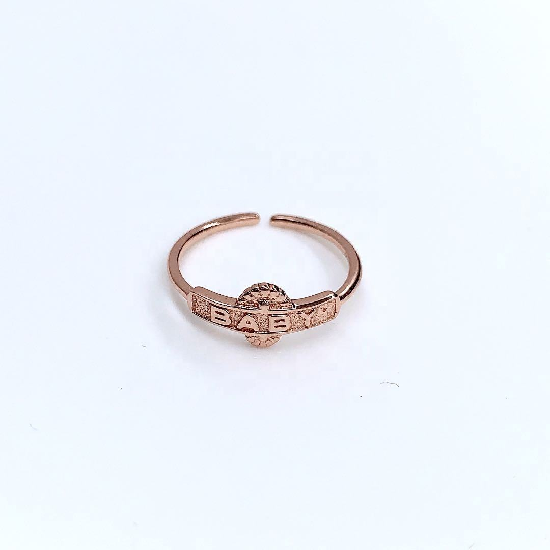 Italian crafts ring Wholesale personalized sterling silver plated rose gold ring baby open ring jewelry