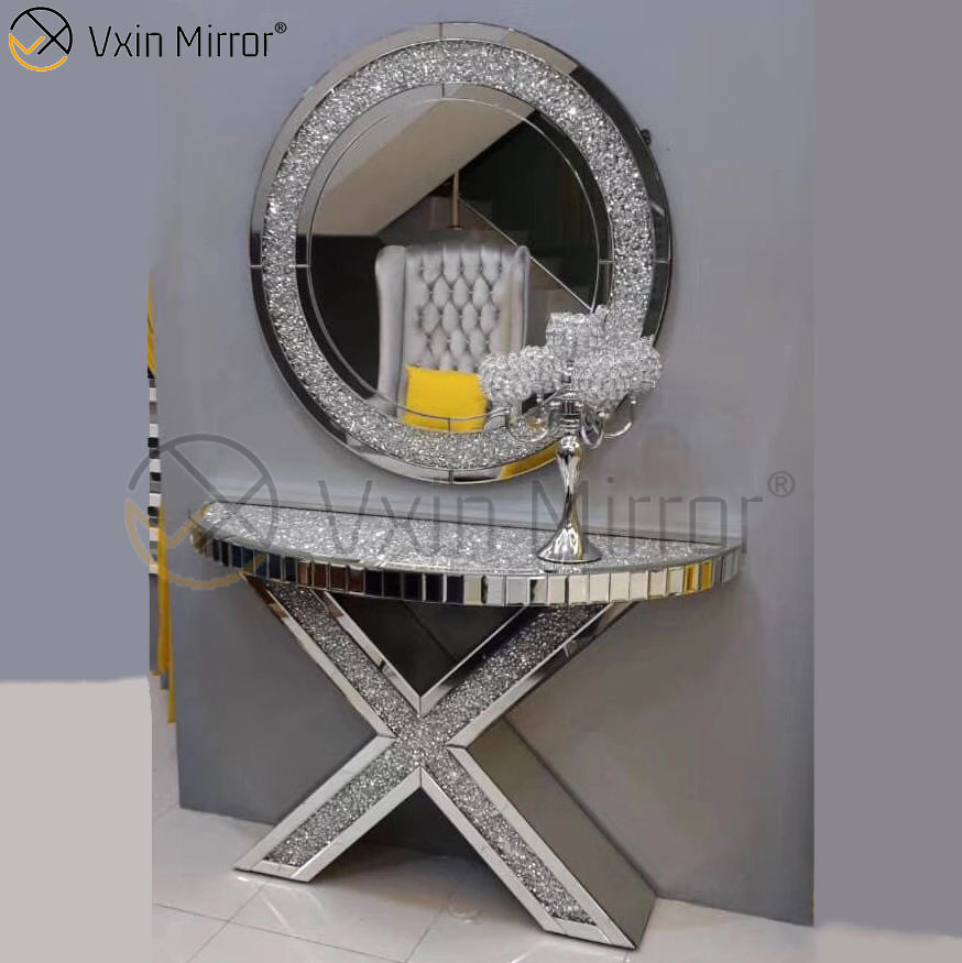 Good Supplier Vxin Modern round Silver crushed crystal console table with mirror living room