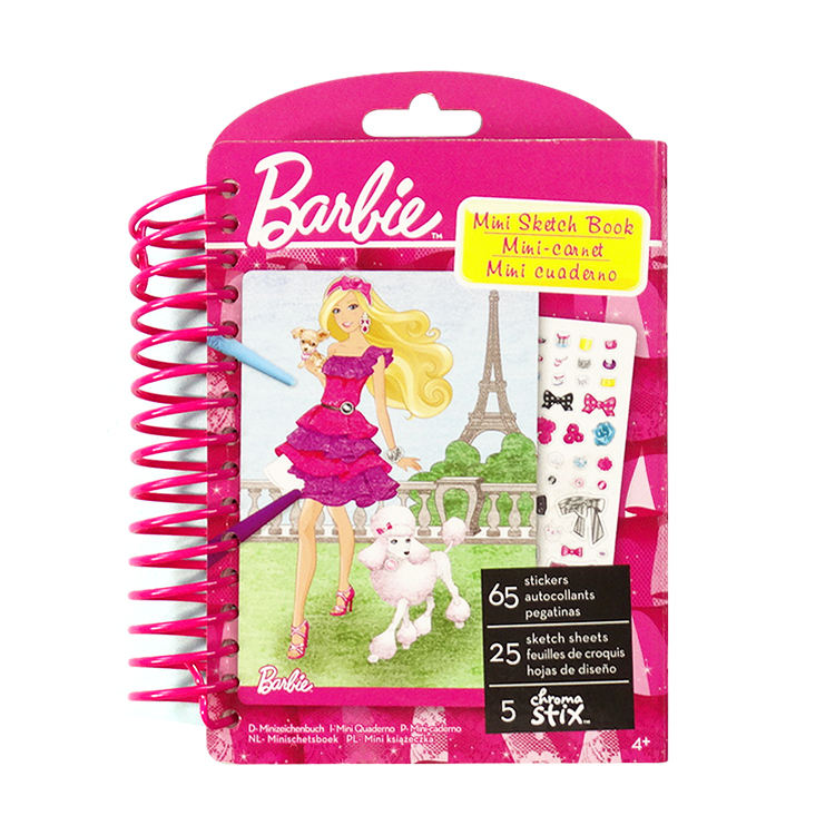 Fancy Pink Spiral Sketch Book Customized Printing Stationery Set Girls Dress Up Book With Stickers