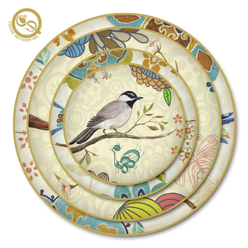 Handpainted gold rim nordic mexican home bird dinnerware sets for sale