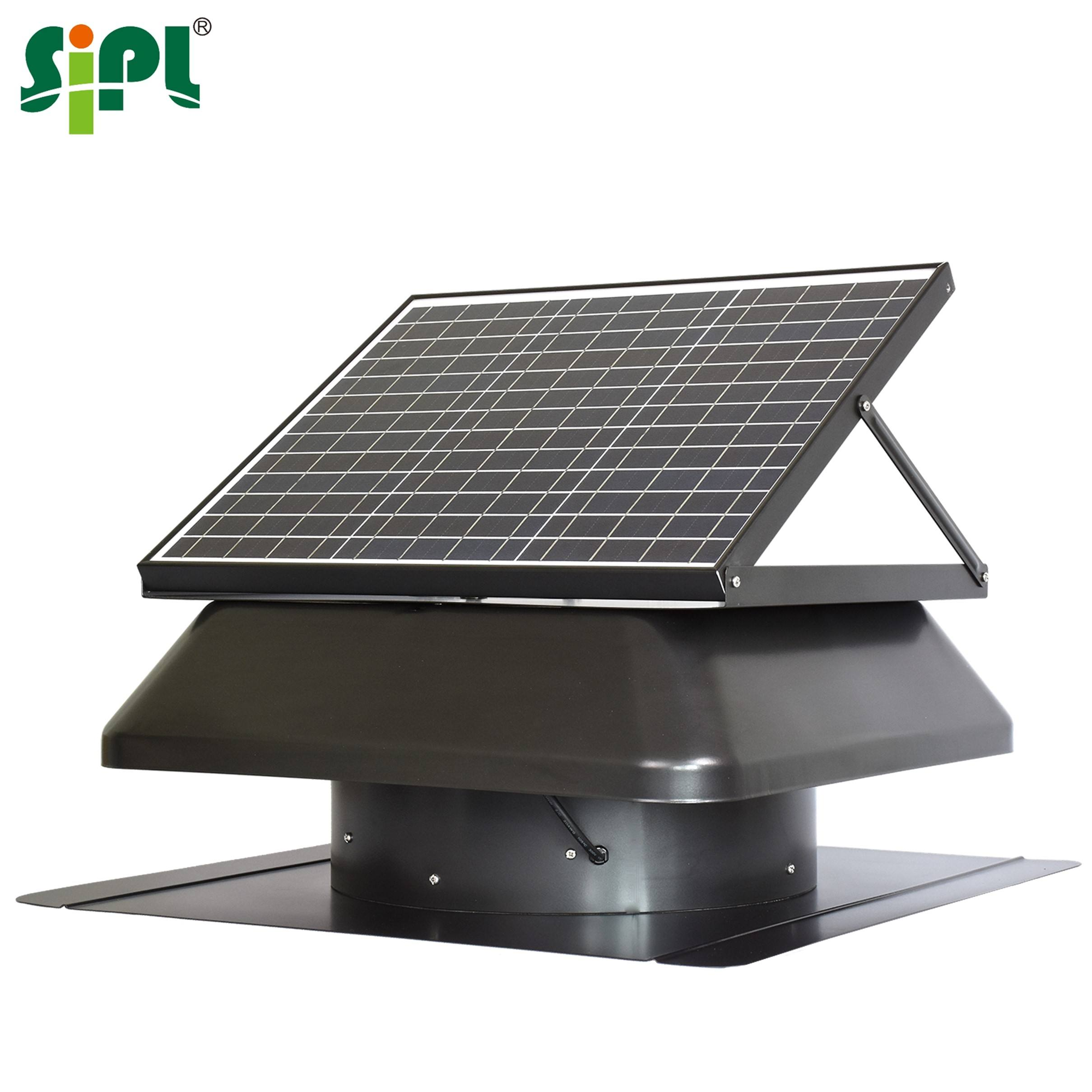 HVAC Roof Vent Tools 40W 14'' Solar Hybrid Power AC DC Exhaust <span class=keywords><strong>Fan</strong></span> Axial Flow <span class=keywords><strong>Fan</strong></span> 7-Blade Propeller Hot Air Solar Heat Extractor