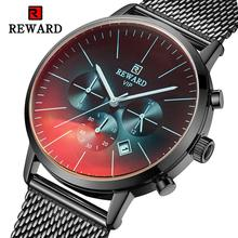 REWARD RD82004M 2019 New Men's Business Watch Waterproof Full Steel Chronograph Watch Men Fashion Auto Date Quartz Clock