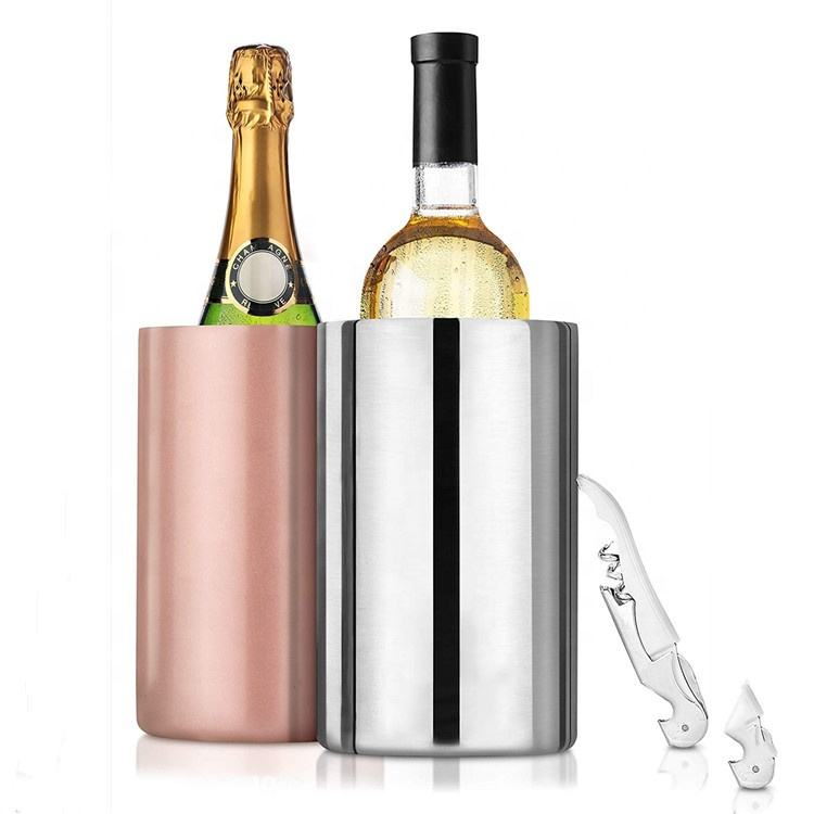 1.6L BPA Free Stainless Steel Bar Supply Wine Ice Bucket Double Walled Wine Chiller Cooler Ice Buckets 18/8 Metal Bottle Cooler