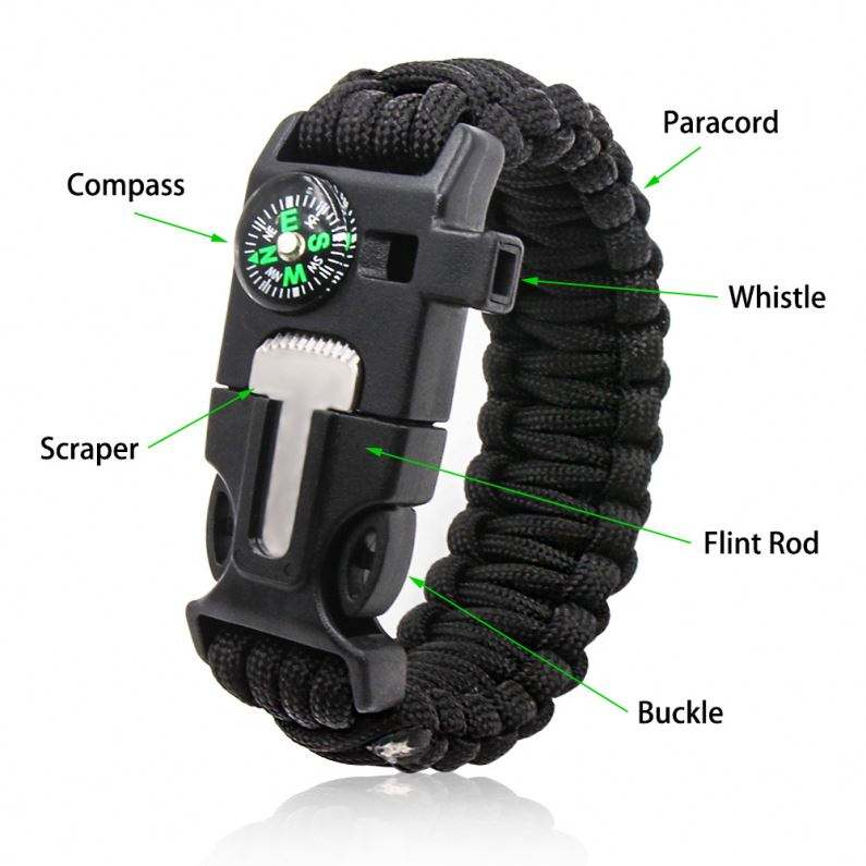 Polyester Tools Survival Bracelet 550 High Quality Mens Friendship Easy Adjustable Clasp Woven 550 Cord Length Paracord Survival Rope Bracelet Led Light Tools