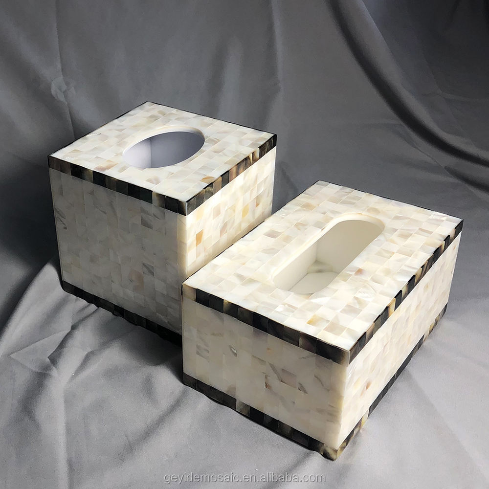 Home craft decoration natural shell inlaid tissue box