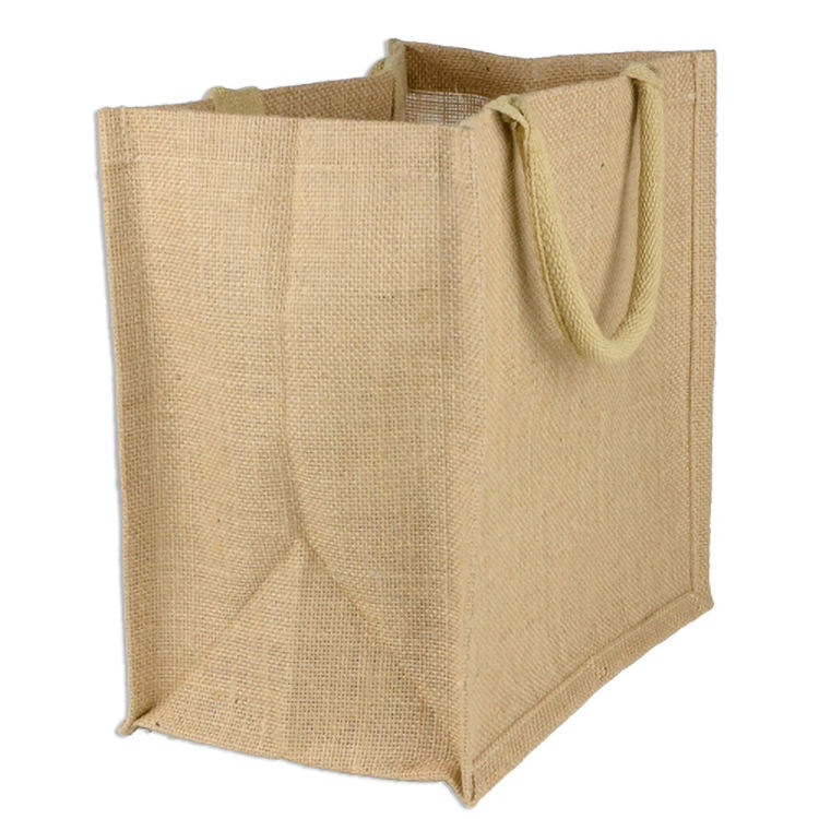 Wholesale cheap plain burlap jute beach tote bag women shopping bag