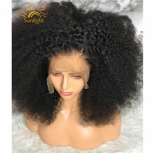 Free sample Afro Kinky Curly Wig 13x4 Pre Plucked Lace Wigs 150% Density Peruvian Remy Lace Front Human Hair Wigs For Women