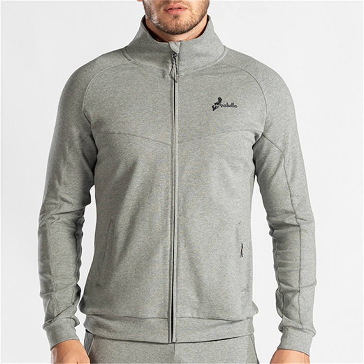 custom mens light grey lightweight front zipper custom logo hoodies with pocket