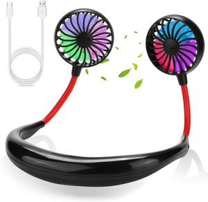 Amazon Hot-sale portable hanging neck sports fan Rechargeable Mini USB Outdoor neckband fan with LED