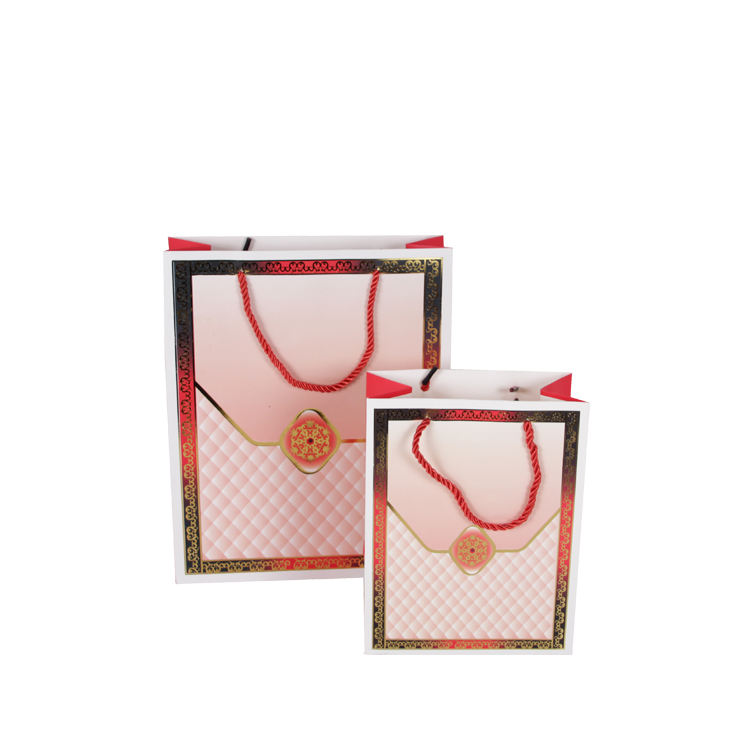 KAIBO wholesale gold hot stamping fancy cosmetic jewelry paper bag clothing shopping wedding gift bag