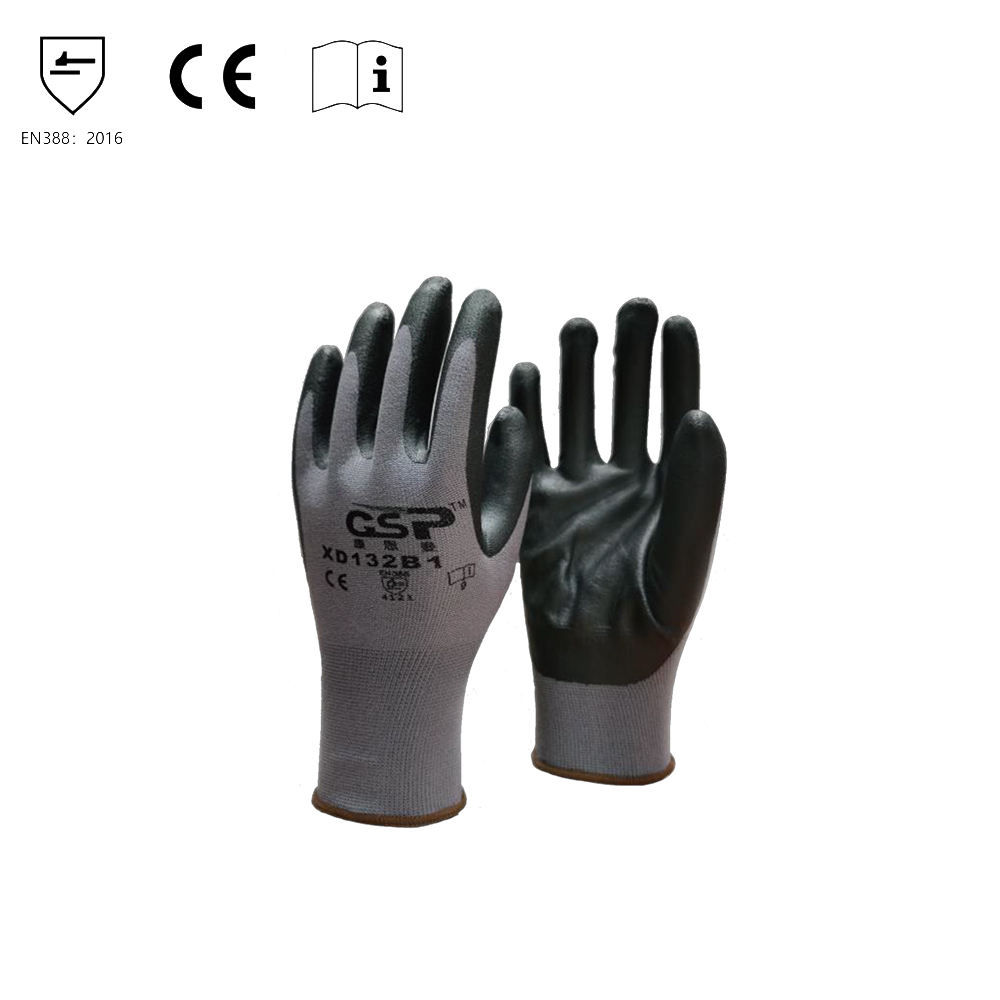 Malaysia Hot selling Premium Quality Dipped Foam heat resistance black nitrile gloves
