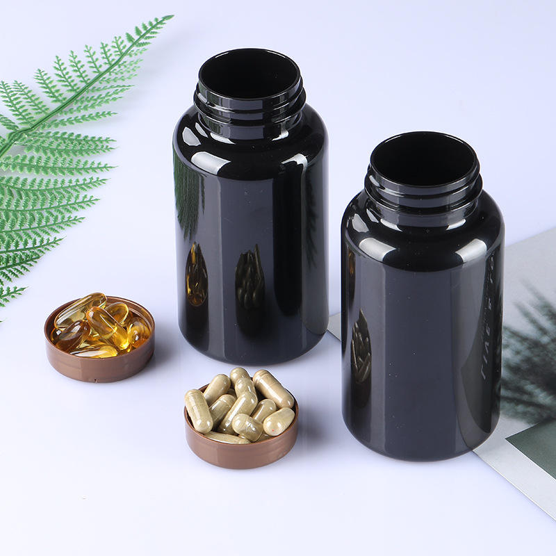Black Plastic Empty Portable Solid Powder Medicine Bottles Pill Tablet Holder Storage Container with flip cap