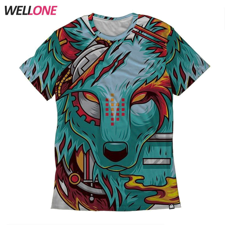 OEM cheap designer custom fox pattern all over printing 100% polyester round neck promotion men sublimation 3d t shirt
