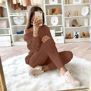 2 Piece Set Pant Pants Factory Wholesale Fashion Winter Thick 2 Piece Sweater Set Women Clothing Solid Ladies Long Pant Women 2020 Sweater Pants Set