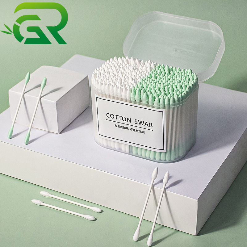 300pcs/box disposable cosmetic OEM baby adult bud round pointed double head cleaning sanitary cotton ear swab with paper stick
