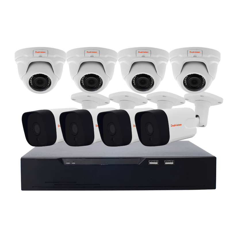 Day/night Vision 8 POE IP cameras nvr 8 channel system camera CCTV 8ch nvr poe kit