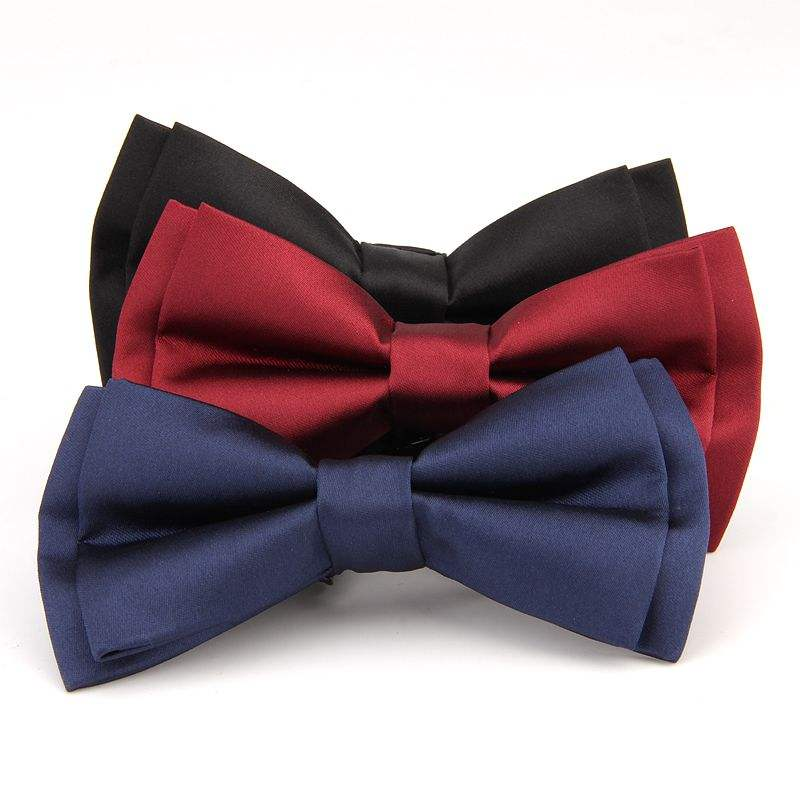 Fashion Hand made polyester wedding cravat Men's good quality fast shipping stock solid bow tie factory
