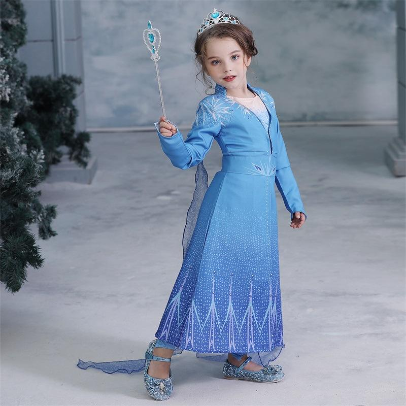 Frozen 2 Children Girl Cospaly Party Dress Costume Princess Elsa Party Dresses