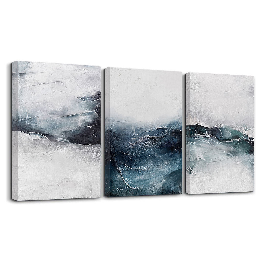 3 pcs Nordic simple Ocean abstract seascape canvas art oil painting for wall decor