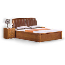 China Bedroom Furniture PU Headboard Wooden Bed Designs