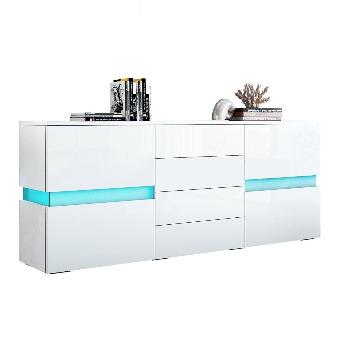 modern white high glossy UV sideboard cabinet with lED lights and drawers best sideboards and buffet tables with storage