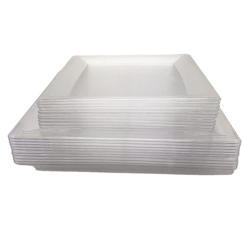 Plastic Clear Square Plate Disposable Plastic Dishes