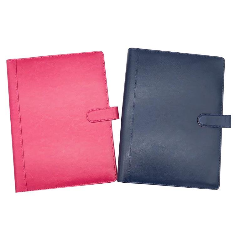Hot sale school office supplies luxury pu leather cover a4 portfolio folder