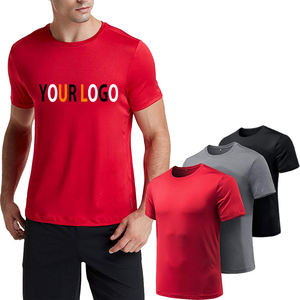 Custom high quality printing Men Dry-Fit Moisture Wicking Active Athletic Crew Neck Polyester spandex fitness T Shirt