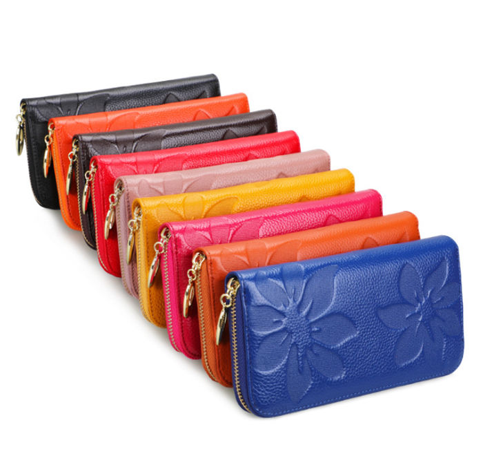 Guangzhou wholesale colorful embossed flower long women pure cowhide leather wallet