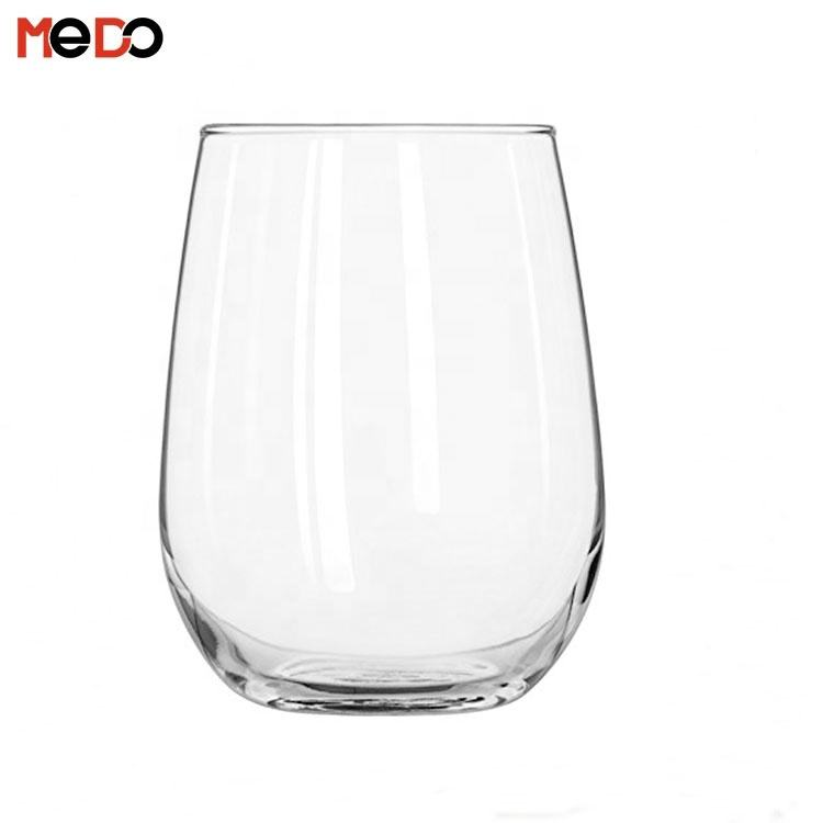 2020 Best Selling Clear Glass Single Wall Stemless Wine Glass for Red and White Wines