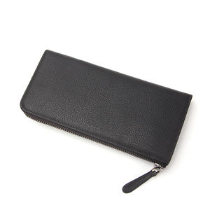Vegan PU Leather Solid Black Zip Wallet Large Womens Long Travel Clutch Wallet